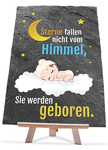 wandmotiv24 Baby-Geschenk zur Geburt auf Schiefer, 20 x 30 cm, Schieferplatte inklusive Staffelei, Geschenke für Frauen, Taufe, Taufgeschenke, Babysachen, Babyparty, Kinderzimmer, Sterne, Himmel M0056