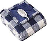 Codi Soft Heated Throw Blanket Plaid Blue   50x60   Lightweight Electric Throws for Couch   3 Heat Setting with Auto Shut Off, 6ft Power Cord,   Washable