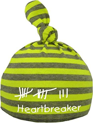 KLEINER FRATZ Baby Mütze bedruckt mit Heartbreaker/ENGL (Farbe neongelb/grau) (Gr. 0-18 Monate)