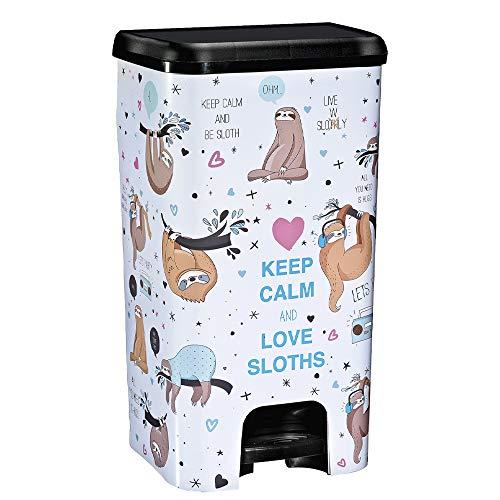 COM-FORT HOUSE   Cubo de Basura con Pedal   Capacidad de 37 litros   Cubo Reciclaje   Decoración Perezosos   Cubo de Basura Orgánico Cocina   1 unidad   Piezas Extraíbles   Limpieza Fácil  