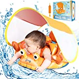 Eaglestone Free Baby Pool Float with UPF 50+ UV Sun Protection Canopy, Inflatable Baby Float for Age of 3-36 Months, Improved Add Tail Never Flip Over Toddler Swimming Ring for Learning Swim Trainer