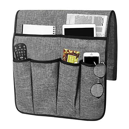 JINTN Organizador para sofá con reposabrazos, para cama, para colgar el sofá, con bandeja, antideslizante, para mesita de noche para mando a distancia, revistas, iPad, teléfono móvil