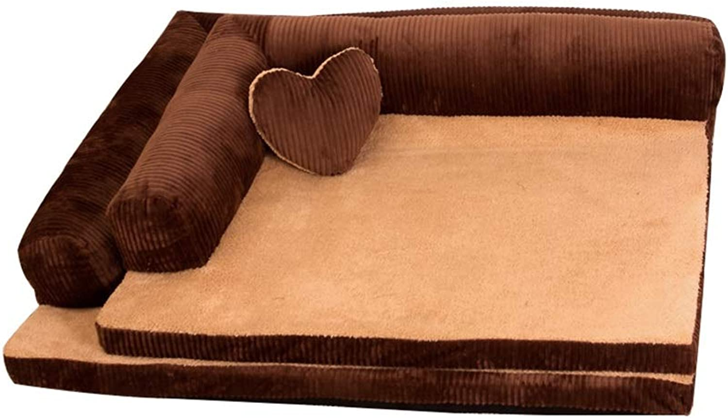Dog Cave Pet Cat Bed Small Memory Foam for Medium and Large Soft Washable Fleece Fur Pillows (color   BROWN, Size   105  90  20CM)