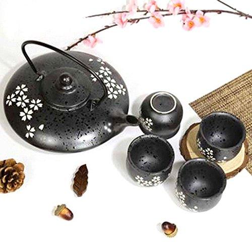XIDUOBAO - Juego de 4 teteras de porcelana kungfu de estilo japonés hechas a mano, juego de té de celadón chino Gongfu de porcelana verde, taza de té de cerámica Gongfu para el hogar, la oficina o viajes