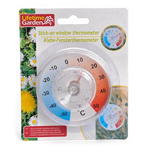 Lifetime Garden Thermomètre pour fenêtre avec Ventouse, Multicolore, 13x4x16 cm