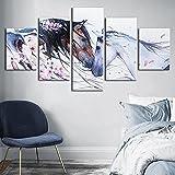 SINGLEAART Impresión De Lienzo 5 Paneles Cuadros 5 Piezas Pintura,100Cm×50Cm,con Marco,Caballos Animales Sala Estar Decoración,Modular Póster,Mural Abstracto