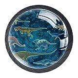 Perillas de tocador Dinosaurio galaxia Tirador de vidrio para cajón de armario redondo de cristal de cristal Tiradores para cocina, 4 piezas