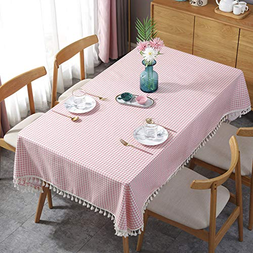 HTUO Tablecloth Christmas Decoration Rectangle Table Cover Pink Plaid Tassel Tablecloth Cotton Linen Decorative Tablecloth Waterproof Oil Proof Home Kitchen Decoration Dinning 140 * 250cm