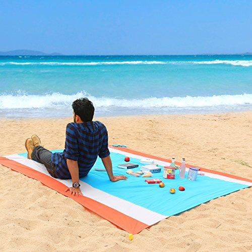WolfWise 270 x 210 cm XXL Alfombra de Playa, Manta de Picnic de Bolsillo Impermeable Extra Grande, a Prueba de Arena & Lavable con 4 Estacas, Rojo