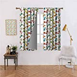 DonaHome Motorcycle Bedroom Curtains Blackout Curtain Panels Famous Moped Bikes in Cartoon Style Retro Italian Scooters for Patio/Front Porch Multicolor 84x84 inch