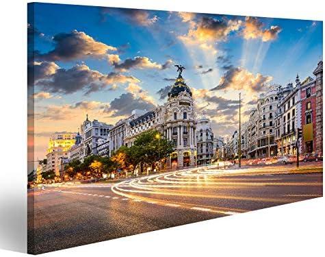 islandburner, Cuadros de Salon Madrid, Paisaje Urbano de España en la Calle de Alcalá y Gran Vía. Cuadro Decoracion de Pared Impresión en Lienzo Formato Grande Modernos PFU-3P-N: Amazon.es: Hogar