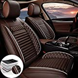 Qiaodi Housse de Siège de Voiture Cuir PU 2 sièges Ensemble Complet pour Audi A1 A3 A4 A4L A5 A6 A6L A7 A8 A8L R8 RS, Compatible Airbag (Café)