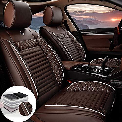 Qiaodi Juego de 2 fundas para asientos delanteros de coche de piel para Porsche 911 997 Cayman Cayenne Mancan Boxster Panamera, compatible con airbag (café)