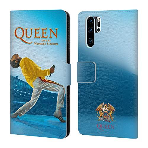 Head Case Designs Offizielle Queen Freddie Mercury Live at Wembley Kunst Leder Brieftaschen Huelle kompatibel mit Huawei P30 Pro