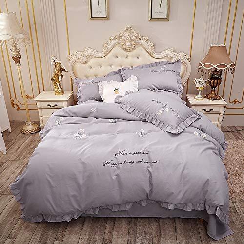 OKJK - Set di biancheria da letto con stampa a lettere ricamate, con federa e lenzuolo, per camera da letto dei bambini (YR07,200 x 230 cm)