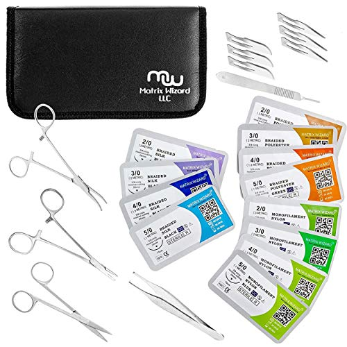Mixed Suture Threads with Needle Plus Tools for Medical Student's Surgical Practice Kit; Outdoor Camping Emergency Survival Demo; Hospital First Aid Training (2-0, 3-0, 4-0, 5-0 with Tools) 24 Set