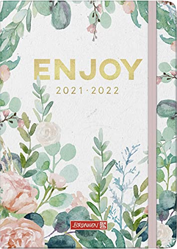 """Brunnen 1072130142 Schülerkalender 2021/2022 (18 Monate) """"Enjoy"""" 2 Seiten = 1 Woche, Blattgröße 14,8 x 21 cm, A5, Hardcover-Einband mit Textilüberzug"""