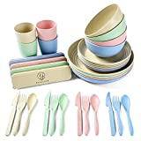 Vetaleez 32 Pc Wheat Straw Dinnerware Sets with Cups, Dinner Plates, Bowls, cutlery set, reusable plates, dish sets Unbreakable Eco-Friendly Dishwasher Safe Tableware for Kitchen, Picnic, or Camping