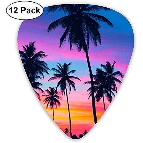 Tropische palmboom behang klassieke gitaar picks (12 Pack) voor elektrische gitaar, akoestische gitaar, mandoline en bas