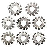 N / A Circular de Metal Hoja de Sierra Set 8pcs M3 PA20 Interior Diámetro 22 mm # 1-8 HSS evolventeRealizamos Engranaje Fresa Corta la Madera, Metal y plástico