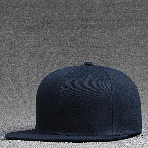 YIERJIU Gorra Gorras Beisbol Adultos y niños al por Mayor Flat Bill Hats Logo Personalizado Color sólido Gorras de béisbol Hombres Gorra Snapback Lisa,Adult Navy Blue
