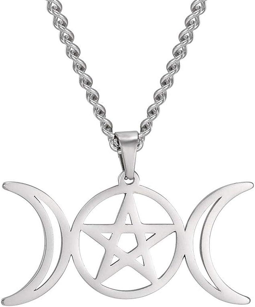 VASSAGO Collar de triple luna diosa Wicca pentagrama amuleto collar de acero inoxidable joyería