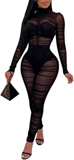 Women's Sexy Mesh See Through Long Sleeve Party Clubwear Romper Jumpsuit