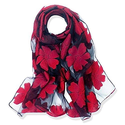 YFZYT Organza-Schal für Damen mit Feder Stickerei Muster/Elegantes Accessoire für Frauen/Organza-Schal/Halstuch/Schulter-Tuch/Schal Chiffon Stola Scarves - Wein rote Blume