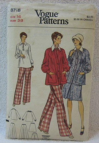 Vogue Pattern 8718 - Misses Maternity Jacket, Pants, Skirt and Overblouse (Size 16, Bust 38)