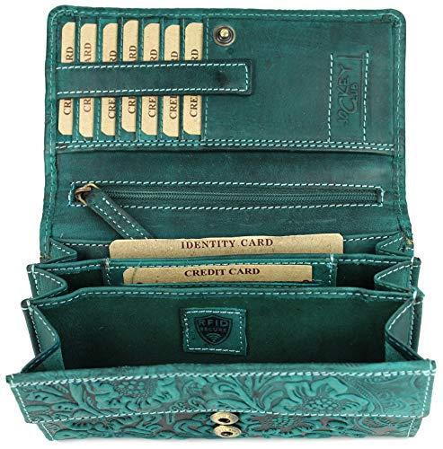 BELLI hochwertige Vintage Leder Damen Geldbörse Portemonnaie langes großes Portmonee Geldbeutel langes Portmonee aus weichem Leder in Petrol Gemustert- 17,5x10x4cm (B x H x T)