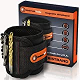 Magnetic Wristband with Strong Magnets by HodmanTools for Holding Screws Nails Drill Bits - Black Armband Tool for DIY Handyman - Best Christmas Gift for Men Dad Father Him Husband Boyfriend Women