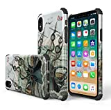 KITATA iPhone Xr Case Shockproof [Bumper Corner], Octopus Squid Giant Kraken Monster Print Design, [Impact Resistant] Slim Fit Drop Protection Protective TPU Silicone Cell Phone Cover