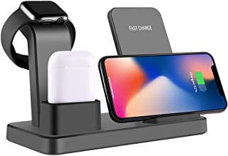 3 in 1 Charging Stand for Apple Watch Airpods iPhone, OOOUSE Aluminum Qi Fast Charger Dock with USB Output,Wireless Charging Station Holder for iPhone X/8 Plus/XS MAX/XR/8/XS, Samsung S9/S8