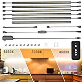 TRUEPIN Under Cabinet LED Lighting kit, 6PCS 48 LEDs Cabinet Light Strips with Remote Control Dimmer for Kitchen Cabinets Counter, Closet, Shelf Lights, 3000-6000K Cold White, Warm White,Natural White