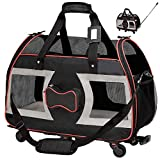 "WPS Airline Approved Pet Carrier with Wheels for Small Dogs and Cats - Removable Fleece Bed, Soft Sided, Mesh Windows, Leash Clip, Handle, Carrying Strap - Bone Design – 11""x22""x16"