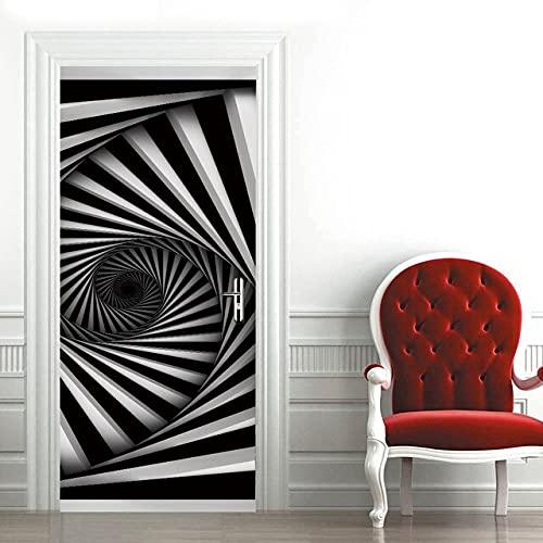DFKJ Pegatina en la Puerta Papel Tapiz Autoadhesivo para Puertas Imprimir Imagen artística Espiral Decoración para el hogar Mural Armario Renovación Calcomanía A13 77x200cm