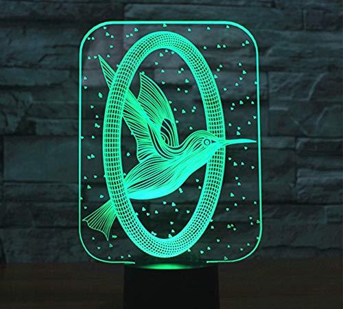 Ringen en vogels patroon 3D lamp optische LED illusie nachtlampje 7 kleuren wisselende afstandsbediening wijzigen raak bureau lamp tafellamp
