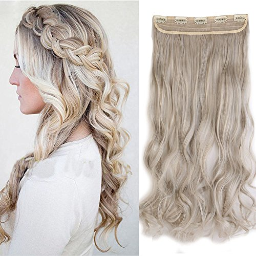 61cm Haarteil Clip in Extensions 1 Tresse 5 Clips Haarverlängerung Human Hair wie Echthaar Gewellt Aschblond Mix Silbergrau 24'(61cm)-120g