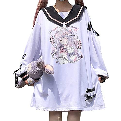 病みかわいい tシャツ レディース 長袖 半袖 ロング 可愛い 地雷系 リンボ付き ワンピース ロンt アニメ プリント チュニック 大きいサイズ