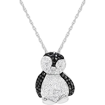 Sterling Silver Enameled Cz Penguin 18in Necklace