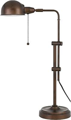 Cal Lighting BO-2441DK-RU 60W Corby Pharmacy Desk lamp with Pull Chain Switch, Rust
