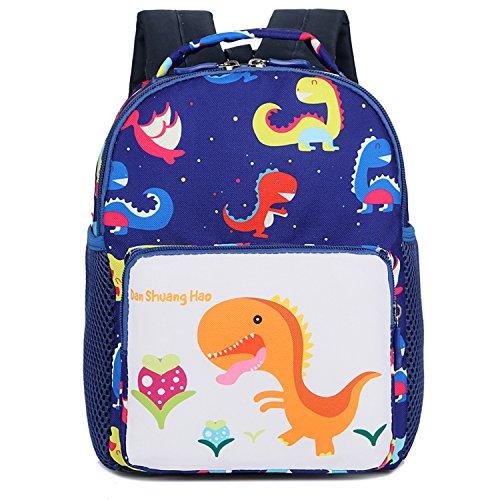 Cosyres Dino Kita Rucksack Tasche Kinder kindergartenrucksack mit Brustgurt für mädchenJungen (Blau(Größe:S))