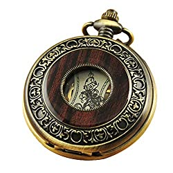 VIGOROSO Men's Hand-Wind Mechanical Pocket Watch Vintage Steampunk Wood Grain Hollow Design with Chain and Box