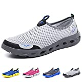 Men's Women's Quick Drying Water Shoes Mesh Breathable Barefoot Slip on Sneakers for Walking Running Hiking Beach Swim Surf Boating (White Grey 45)