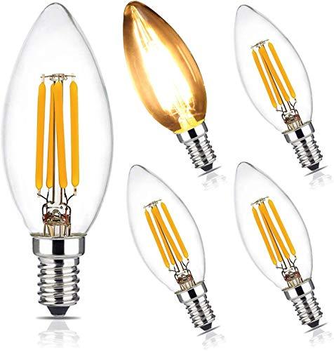BRIMAX Glühbirne Kerzenlampe C35 E14 Dimmbar,LED 4W = 40W Glühlampe, weiches warmes Weiß 2700K, Ersatz der Wandleuchte für Kronleuchter mit kleiner Schraube Edison, AC220-240V, 5er-Set