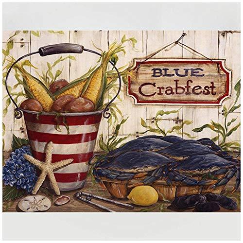 Plaxz Pintura de Diamante Cristal Rhinestone Gran Tamaño Diamond Painting Mosaico 5D DIY Artes Home Pared Decor Adultos Niños Bordado Taladro Cuadrado Food Crab-80x100cm