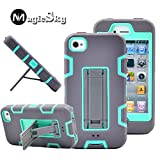 MagicSky iPhone 4s case, iPhone 4 case, Robot Series Hybrid Armor Defender Case Cover with Kickstand for Apple iPhone 4/4S - Blae