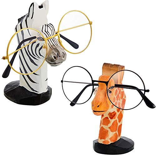 Weewooday 2 Stücke Holz Tiere Brillen Halter Hand Geschnitzt Holz Brillen Sonnenbrillen Halter Ständer für Haus Büro Schreibtisch Dekor, Giraffe und Zebra