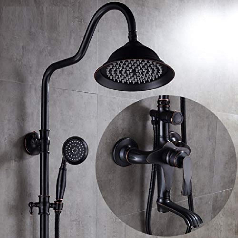 LyMei Duschsystem, Antikes kupfernes schwarzes justierbares Dia-Bar-Regendusche und Handheld-Wall Mounted-Bringen Sie den Spa zu Ihrem Haus,B