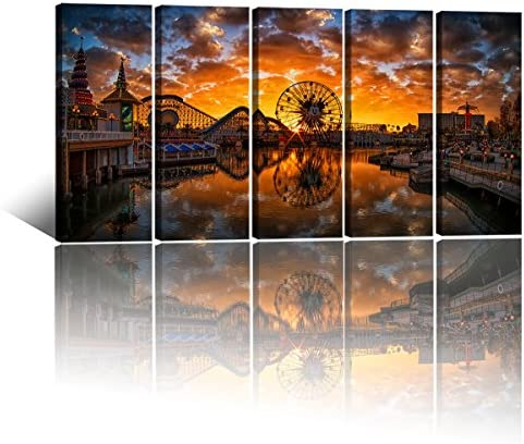 Large Canvas Art Prints Disney Castle Mickey Ferris Wheel Reflected In The Lake Prints On Canvas product image